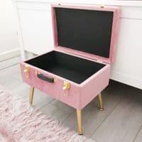 Luxury Pink Velvet Storage Stool